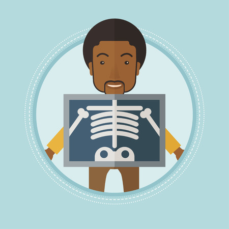 An african patient during chest x ray procedure. Man with x ray screen showing his skeleton. Patient on reception at radiologist. Vector flat design illustration in the circle isolated on background.