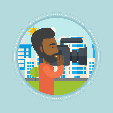 An african-american cameraman looking through movie camera. Cameraman with video camera in city. Cameraman shooting outdoor. Vector flat design illustration in the circle isolated on background. Illustration