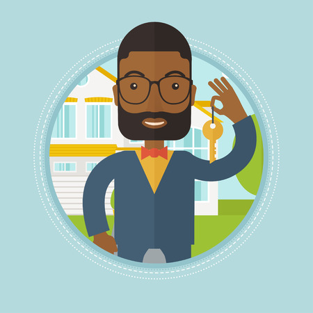 buyers: An african-american real estate agent holding key. Real estate agent showing keys in front of house. Happy new owner of a house. Vector flat design illustration in the circle isolated on background. Illustration