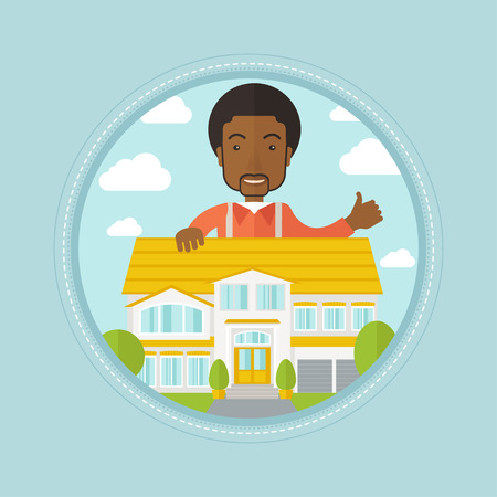 An african-american real estate agent standing behind the house and giving thumb up. Male real estate agent offering the house. Vector flat design illustration in the circle isolated on background.