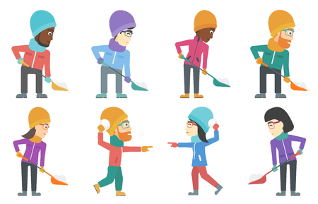 removing: Man shoveling snow after snowfall. Woman removing snow with a spade. People playing with snowballs. People playing with snow. Set of vector flat design illustrations isolated on white background.