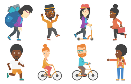 Business woman riding a bicycle. Cyclist riding a bicycle. Business woman with briefcase on a bicycle. Healthy lifestyle concept. Set of vector flat design illustrations isolated on white background. Illustration