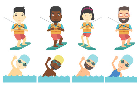 Wakeboarder making tricks. Young man wakeboarding on the sea. Professional sportsman training on wakeboard. Happy people swimming. Set of vector flat design illustrations isolated on white background.