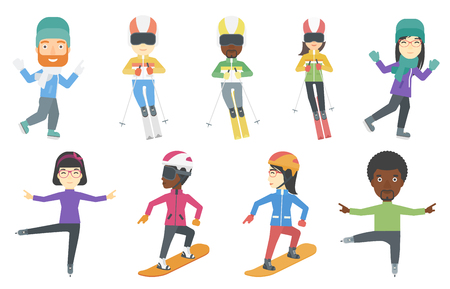 slope: Young sportswoman and sportsman skiing. Young skier skiing downhill. Female skier on downhill slope. Skier resting in ski resort. Set of vector flat design illustrations isolated on white background. Illustration