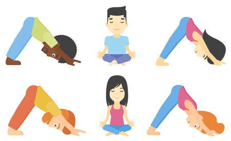 downward: People standing in yoga downward facing dog pose. Woman meditating in yoga lotus pose. Man doing yoga. Woman practicing yoga. Set of vector flat design illustrations isolated on white background. Illustration