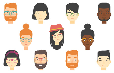 Set of people expressing facial emotions. Human faces with sad facial expressions. Human faces showing sad emotion. People with sad faces. Vector flat design illustrations isolated on white background Illustration
