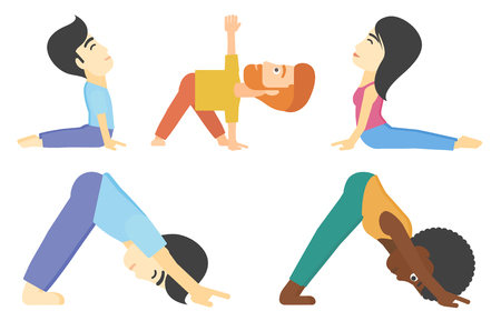 Man standing in yoga downward facing dog pose. Woman meditating in yoga upward dog position. Man standing in yoga triangle pose. Set of vector flat design illustrations isolated on white background.