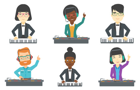 upright piano: Young smiling musician playing piano. Pianist playing upright piano. Man playing on synthesizer. Musician performing with piano. Set of vector flat design illustrations isolated on white background.