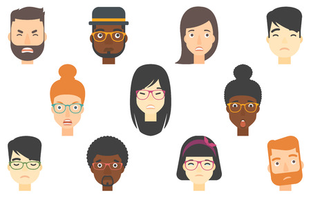 unexpectedness: Set of people expressing diverse facial emotions. Screaming aggressive man. Aggressive young woman yelling. Angry man shouting. Set of vector flat design illustrations isolated on white background.