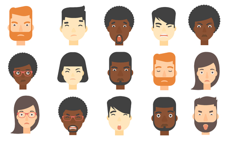aggressively: Set of people of various ethnicity expressing negative emotions. Human faces with negative emotions. Evil man looking aggressively. Set of vector flat design illustrations isolated on white background