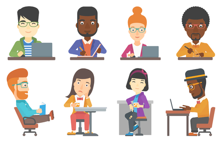 happy office: Young happy office worker working on laptop. Office worker sitting at the table and using laptop. Cheerful office worker at work. Set of vector flat design illustrations isolated on white background. Illustration