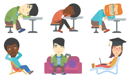 vacation with laptop: Young drunk woman deeply sleeping in bar. Drunk man sleeping in pub. Bar customer asleep on the table. Alcohol addiction concept. Set of vector flat design illustrations isolated on white background.