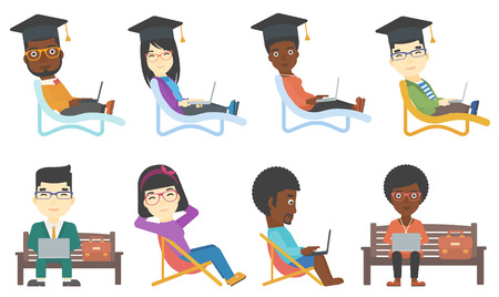 distance learning: Graduate sitting in longue and studying. Student in graduation cap working on laptop. Online education and distance learning concept. Set of vector flat design illustrations isolated on background.