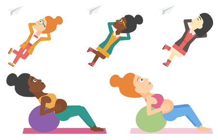 Pregnant woman exercising with fit ball. Pregnant woman working out with exercise ball. Pregnant woman doing exercises on fitball. Set of vector flat design illustrations isolated on white background. Illustration
