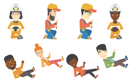 arms lifted up: Successful young caucasian hipster businessman with the beard get thrown into the air by his coworkers during celebration. Set of vector flat design illustrations isolated on white background.