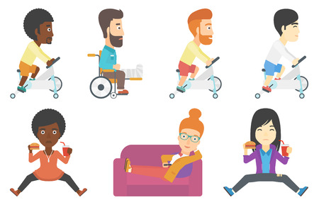 Young man riding stationary bicycle. Sporty man exercising on stationary training bicycle. Man training on stationary bicycle. Set of vector flat design illustrations isolated on white background.