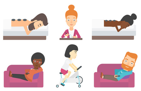 Woman watching tv on the sofa. Man sitting on couch and switching TV channels. Man sitting on couch with remote control in hand. Set of vector flat design illustrations isolated on white background.