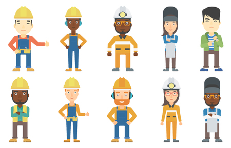 hard: Welder wearing protective mask and apron. Confident welder standing with folded hands. Miner wearing hard hat with flashlight. Set of vector flat design illustrations isolated on white background.