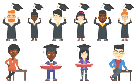 man studying: Excited graduate in cloak and graduation hat. Happy graduate throwing up his hat. Cheerful graduate celebrating with hands raised. Set of vector flat design illustrations isolated on white background. Illustration