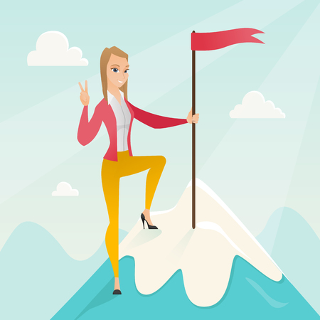 Successfull business woman achieved flag on the top of mountain symbolizing business success. Woman celebrating her business success on peak of mountain. Vector flat design illustration. Square layout Illustration