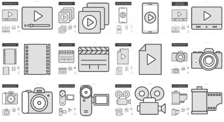 Media vector line icon set isolated on white background. Media line icon set for infographic, website or app. Scalable icon designed on a grid system. 向量圖像