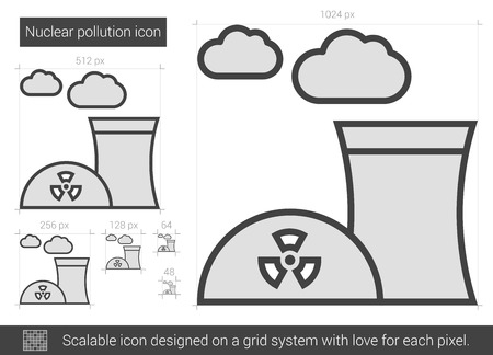 ecological damage: Nuclear pollution vector line icon isolated on white background. Nuclear pollution line icon for infographic, website or app. Scalable icon designed on a grid system.