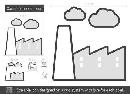 Carbon emission vector line icon isolated on white background. Carbon emission line icon for infographic, website or app. Scalable icon designed on a grid system. 向量圖像