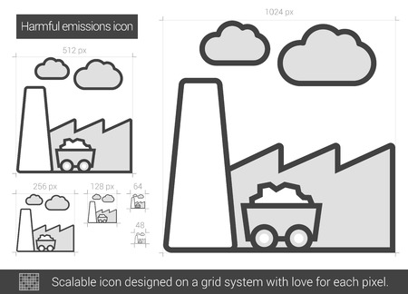 emissions: Harmful emissions vector line icon isolated on white background. Harmful emissions line icon for infographic, website or app. Scalable icon designed on a grid system.