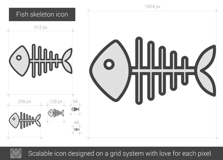Fish skeleton vector line icon isolated on white background. Fish skeleton line icon for infographic, website or app. Scalable icon designed on a grid system. Ilustracja