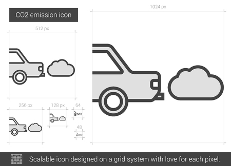 CO2 emission vector line icon isolated on white background. CO2 emission line icon for infographic, website or app. Scalable icon designed on a grid system. 矢量图像