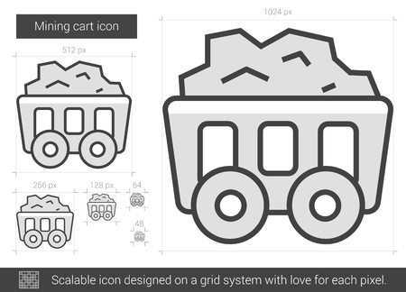 Mining cart vector line icon isolated on white background. Mining cart line icon for infographic, website or app. Scalable icon designed on a grid system.