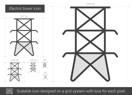 powerlines: Electric tower vector line icon isolated on white background. Electric tower line icon for infographic, website or app. Scalable icon designed on a grid system.