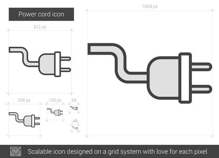 Icône de ligne de vecteur de cordon d'alimentation isolé sur fond blanc. Icône de ligne de cordon d'alimentation pour infographie, site Web ou application. Icône évolutive conçue sur un système de grille.