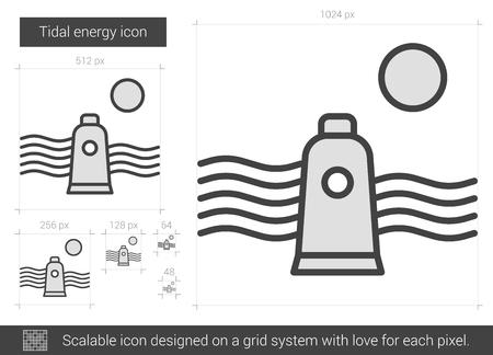 Tidal icono de la línea vector energético aislado en el fondo blanco. icono de las mareas línea de energía para la infografía, sitio web o aplicación. icono escalable diseñada en un sistema de red. Foto de archivo - 66674514