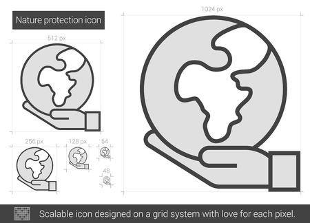 protection line: Nature protection vector line icon isolated on white background. Nature protection line icon for infographic, website or app. Scalable icon designed on a grid system.