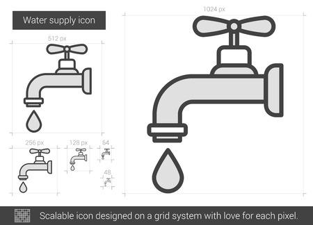물 공급 벡터 라인 아이콘 흰색 배경에 고립입니다. 인포 그래픽, 웹 사이트 또는 앱에 대한 물 공급 라인 아이콘입니다. 그리드 시스템 설계 확장 아이콘입니다. 스톡 콘텐츠 - 66674528