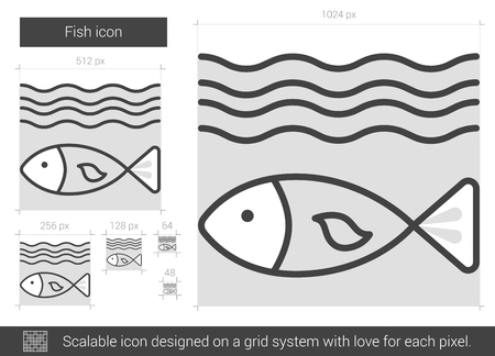 deterioration: Fish vector line icon isolated on white background. Fish line icon for infographic, website or app. Scalable icon designed on a grid system.