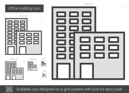 Office building vector line icon isolated on white background. Office building line icon for infographic, website or app. Scalable icon designed on a grid system.
