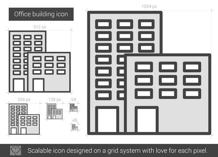 Bürogebäude Vektor Liniensymbol isoliert auf weißem Hintergrund. Bürogebäude Linie Symbol für Infografik, Website oder App. Skalierbares Symbol, das auf einem Rastersystem entworfen wurde. Standard-Bild - 66674863