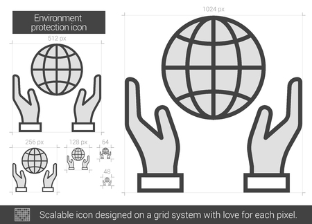 Environment protection vector line icon isolated on white background. Environment protection line icon for infographic, website or app. Scalable icon designed on a grid system. 向量圖像