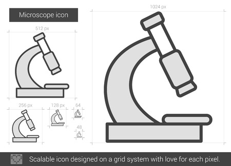 Microscope vector line icon isolated on white background. Microscope line icon for infographic, website or app. Scalable icon designed on a grid system. Ilustração Vetorial