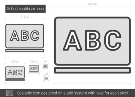 School chalkboard vector line icon isolated on white background. School chalkboard line icon for infographic, website or app. Scalable icon designed on a grid system. Çizim