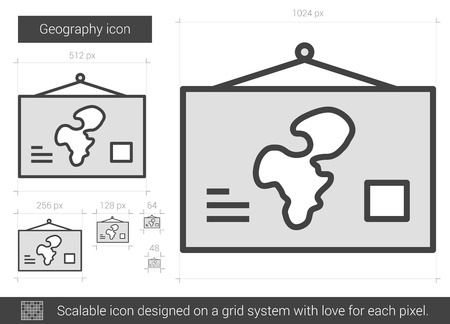 geography: Geography vector line icon isolated on white background. Geography line icon for infographic, website or app. Scalable icon designed on a grid system.