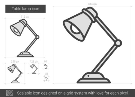 Table lamp vector line icon isolated on white background. Table lamp line icon for infographic, website or app. Scalable icon designed on a grid system. 版權商用圖片 - 66673220
