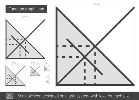 ordinate: Function graph vector line icon isolated on white background. Function graph line icon for infographic, website or app. Scalable icon designed on a grid system.