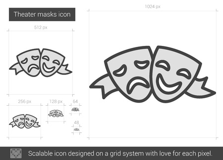 sensitivity: Theater masks vector line icon isolated on white background. Theater masks line icon for infographic, website or app. Scalable icon designed on a grid system.