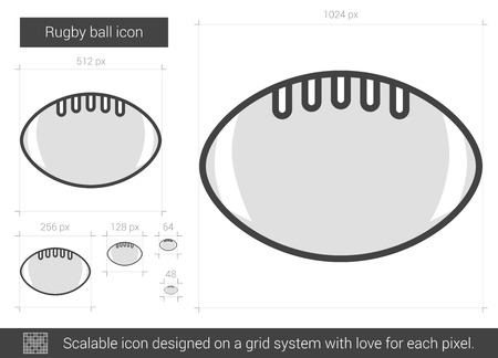 Rugby ball vector line icon isolated on white background. Rugby ball line icon for infographic, website or app. Scalable icon designed on a grid system.