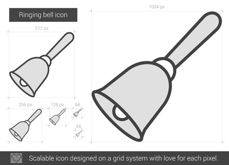 Ringing bell vector line icon isolated on white background. Ringing bell line icon for infographic, website or app. Scalable icon designed on a grid system. Ilustracja