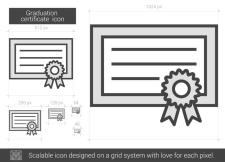 school bills: Graduation certificate vector line icon isolated on white background. Graduation certificate line icon for infographic, website or app. Scalable icon designed on a grid system.