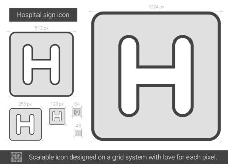 hospitalization: Hospital sign vector line icon isolated on white background. Hospital sign line icon for infographic, website or app. Scalable icon designed on a grid system.